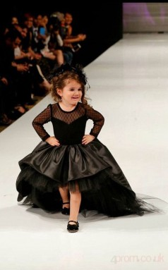 Princess Illusion Black Kids Girls Dress CH0151