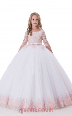 Jewel Half Sleeve Blushing Pink Kids Prom Dresses CHK010