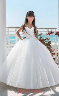 Sweetheart Sleeveless White Kids Prom Dresses CHK021