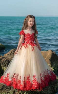 Illusion Short Sleeve Red Kids Prom Dresses CHK023