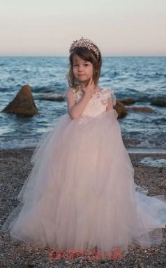 Jewel Short Sleeve Blushing Pink Kids Prom Dresses CHK026