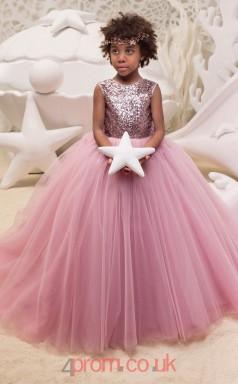 Jewel Sleeveless Salmon Kids Prom Dresses CHK033