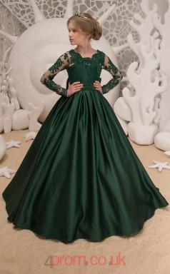 Jewel Long Sleeve Dark Green Kids Prom Dresses CHK040