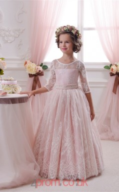 Illusion 3/4 Length Sleeve Candy Pink Kids Prom Dresses CHK045