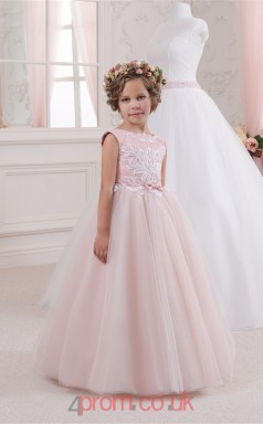 Jewel Sleeveless Candy Pink Kids Prom Dresses CHK046
