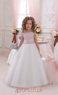 Jewel Sleeveless Candy Pink Kids Prom Dresses CHK047