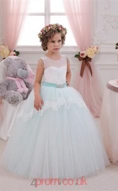 Illusion Sleeveless Girls Kids Prom Dresses CHK049