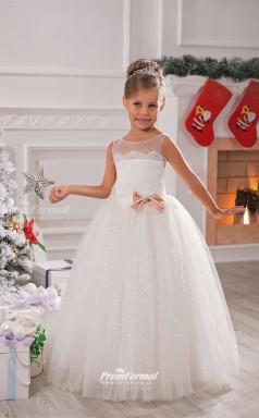 Tulle Ball Gown Illusion Sleeveless Flower Girl Dress CHK135