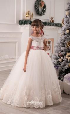 Tulle Princess Illusion Sleeveless Flower Girl Dress CHK136