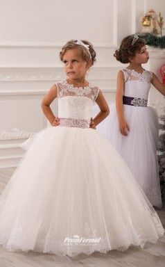 Tulle Ball Gown Illusion Sleeveless Flower Girl Dress CHK137