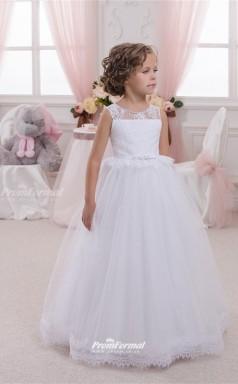 Tulle , Lace Princess Illusion Sleeveless Kids Wedding Dress CHK141