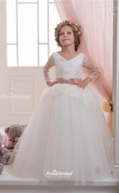 Tulle , Lace Princess V-neck Long Sleeve Childrens Wedding Dress CHK142