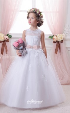 Tulle , Lace Princess Illusion Sleeveless Wedding Dress CHK148