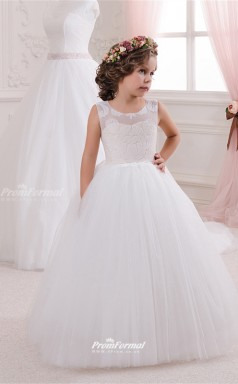 Tulle , Lace Princess Illusion Sleeveless Children Wedding Dress CHK149