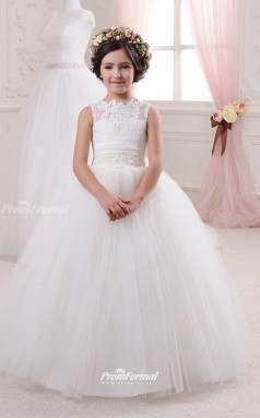 Tulle , Lace Princess Illusion Sleeveless Kids Wedding Dress CHK150