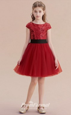 Cute Short Squined Burgundy Kids Party Dresses CHK167