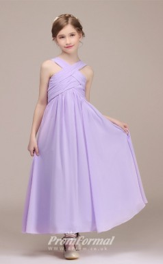 Lilac Long Children Bridesmaid Dresses with Halter Neck CHK171