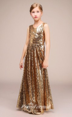Long V Neck Gold Squined Kids Pageant Dresses CHK172