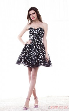 Black Organza Sequined A-line Sweetheart Sleeveless Cocktail Dress(JT4-CZ001)