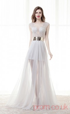 Beige Lace Chiffon A-line Illusion Jewel Short Sleeve Prom Dresses(JT4-CZM184)