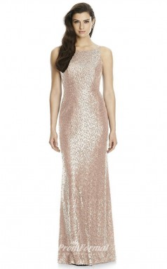 DASUK2993 Plus Sides Mermaid/Trumpet Boat/Bateau Pink Sequined With Strappy Bridesmaid Dresses