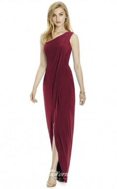 DASUK2997 Plus Sides Sheath One Shoulder Burgundy 91 Satin Chiffonper Bridesmaid Dresses
