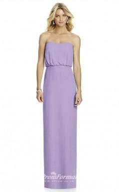 DASUK6761 Plus Sides Sheath Strapless Lilac 24 Chiffonper Bridesmaid Dresses