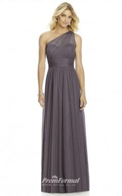 DASUK6765 Plus Sides A Line One Shoulder Topza Silk Like Chiffon With Mid Back Bridesmaid Dresses