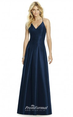 DASUK6767 Plus Sides A Line Halter Navy Blue 102 Matte Satin With Strappy Bridesmaid Dresses
