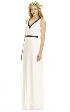 DASUK8173 Plus Sides A Line V Neck Ivory Chiffon With Open Back Bridesmaid Dresses