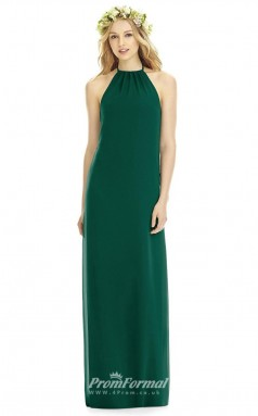 DASUK8175 Plus Sides Sheath Halter Dark Green Satin Chiffonper Bridesmaid Dresses