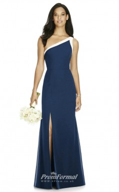 DASUK8178 Plus Sides Mermaid/Trumpet One Shoulder Navy Blue 102 Charmeuse With Mid Back Bridesmaid Dresses