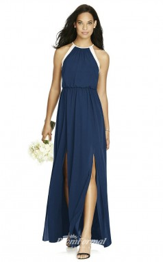 DASUK8179 Plus Sides A Line Halter Navy Blue 102 Chiffonper Bridesmaid Dresses