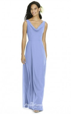 DASUK8180 Plus Sides A Line Cowl Lavender 40 Chiffon With Mid Back Bridesmaid Dresses