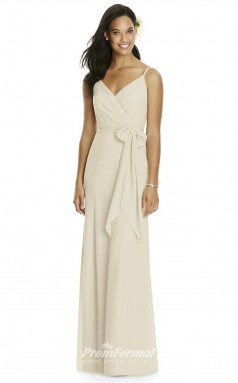 DASUK8181 Plus Sides A Line V Neck Beige 59 Chiffon With Mid Back Bridesmaid Dresses