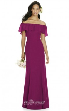 DASUK8182 Plus Sides Mermaid/Trumpet Off the Shoulder Fuchsia 108 Chiffon With Mid Back Bridesmaid Dresses