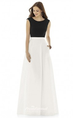 DASUKD729 Plus Sides A Line Jewel Black And White Satin With Mid Back Bridesmaid Dresses