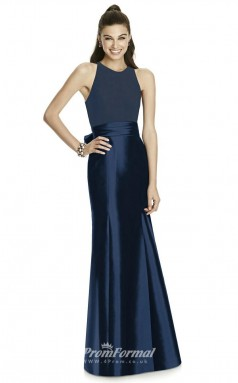 DASUKD737 Plus Sides Mermaid/Trumpet Jewel Navy Blue 102 Stretch Satin With Covered Back Bridesmaid Dresses