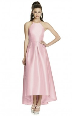 DASUKD741 Plus Sides Princess Halter Candy Pnk 18 Stretch Satin With Strappy Bridesmaid Dresses