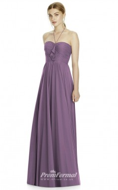 DASUKJY533 Plus Sides A Line Halter Purple 101 Chiffonper Bridesmaid Dresses