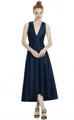 DASUKLR242 Plus Sides Princess V Neck Navy Blue 102 Satin With Open Back Bridesmaid Dresses