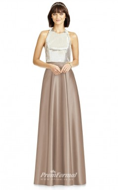 DASUKS2976 Plus Sides A Line Jewel Light Chocolate Taffeta With Covered Back Bridesmaid Dresses