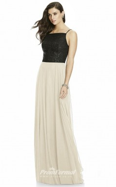 DASUKS2984 Plus Sides A Line Straps Black And Beige 59 Sequined Chiffonper Bridesmaid Dresses