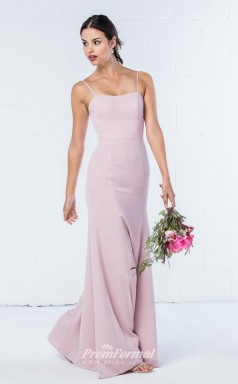 DASUKWO300 Plus Sides Sheath Straps Purple Pink 57 Chiffon With Mid Back Bridesmaid Dresses
