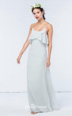 DASUKWO301 Plus Sides A Line Straps Light Sky Blue 65 Chiffon With Low Back Bridesmaid Dresses