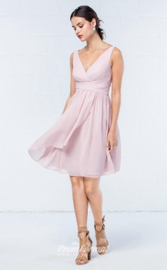 DASUKWO304 Plus Sides A Line V Neck Blushing Pink 37 Chiffon With Low Back Bridesmaid Dresses