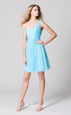 DASUKWO339 Plus Sides A Line One Shoulder Blue 11 Tulle With Low Back Bridesmaid Dresses