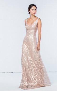 DASUKWO350 Plus Sides A Line V Neck Pearl Pink Laceper Bridesmaid Dresses