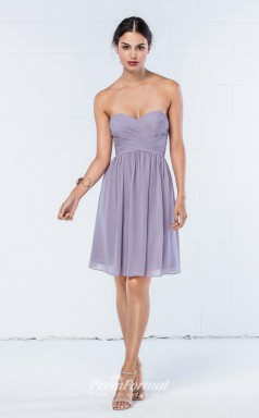DASUKWO904 Plus Sides A Line Sweetheart Lilac 24 Chiffon With Covered Back Bridesmaid Dresses