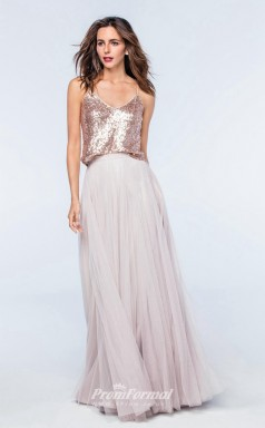 DASUKWS2301 Plus Sides A Line Straps Beige Sequined Tulle With Low Back Bridesmaid Dresses